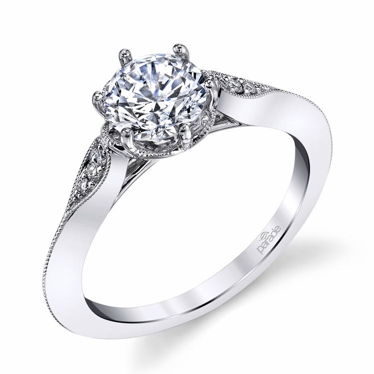 Vintage Six-Prong Milgrained Diamond Engagement Ring in Platinum by Parade | 01