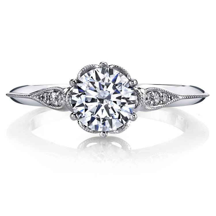 Vintage Six-Prong Milgrained Diamond Engagement Ring in Platinum by Parade | 02