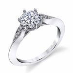 Vintage Six-Prong Milgrained Diamond Engagement Ring in White Gold by Parade | Thumbnail 01