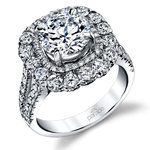 Vintage Statement Halo Diamond Engagement Ring in White Gold by Parade | Thumbnail 01