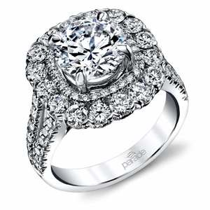 Vintage Statement Halo Diamond Engagement Ring in White Gold by Parade