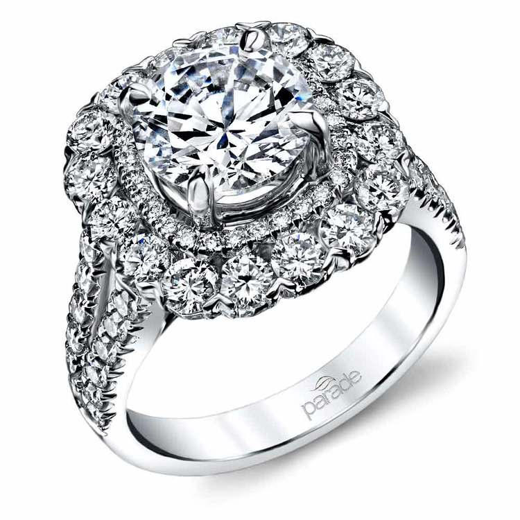Vintage Statement Halo Diamond Engagement Ring in White Gold by Parade | 01
