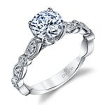 Vintage Style Cathedral Diamond Engagement Ring in Platinum by Parade | Thumbnail 01