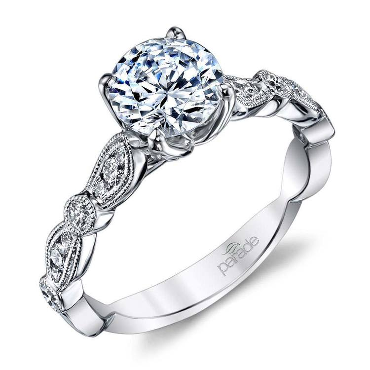 Vintage Style Cathedral Diamond Engagement Ring in White Gold by Parade | 01