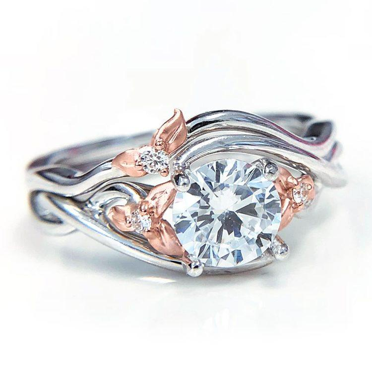 Wrap Around Flower Engagement Ring in White and Rose Gold by Parade | 02