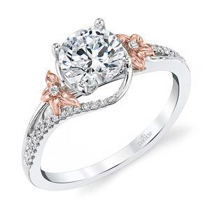 Wrapping Floral Diamond Engagement Ring in White and Rose Gold by Parade