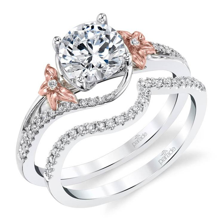 Wrapping Floral Diamond Engagement Ring in White and Rose Gold by Parade | 02