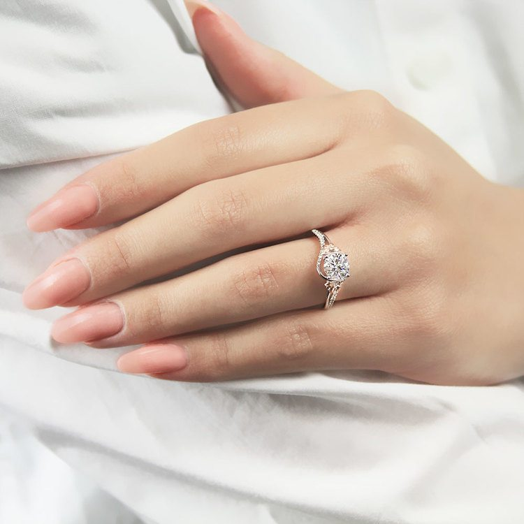 Wrapping Floral Diamond Engagement Ring in White and Rose Gold by Parade | 03