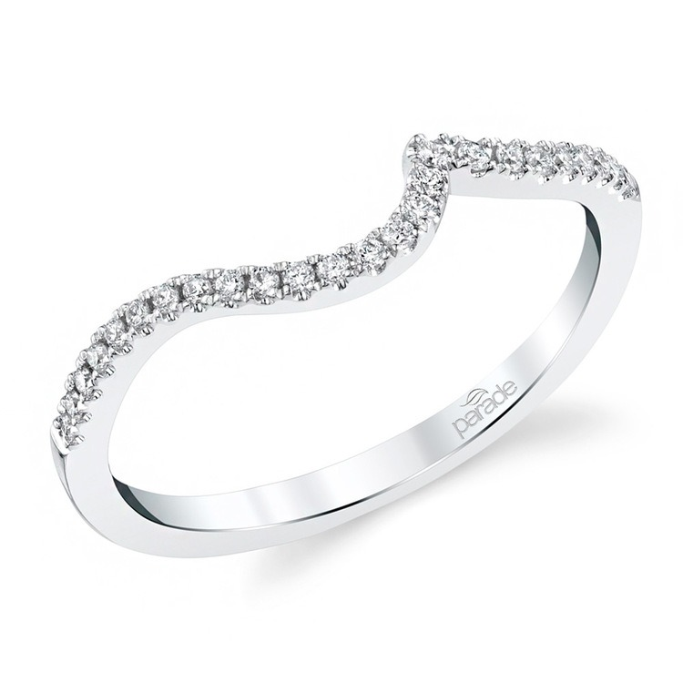 Wrapping Style Matching Diamond Wedding Ring in White Gold by Parade | 01
