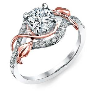 Wrapping Vine Diamond Engagement Ring in White and Rose Gold by Parade