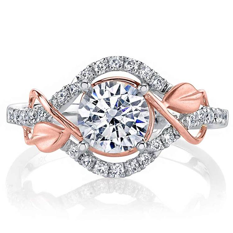 Wrapping Vine Diamond Engagement Ring in White and Rose Gold by Parade | 02