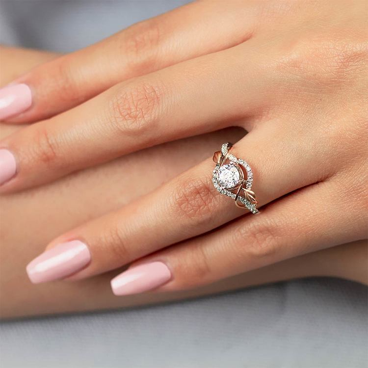 Wrapping Vine Diamond Engagement Ring in White and Rose Gold by Parade | 03