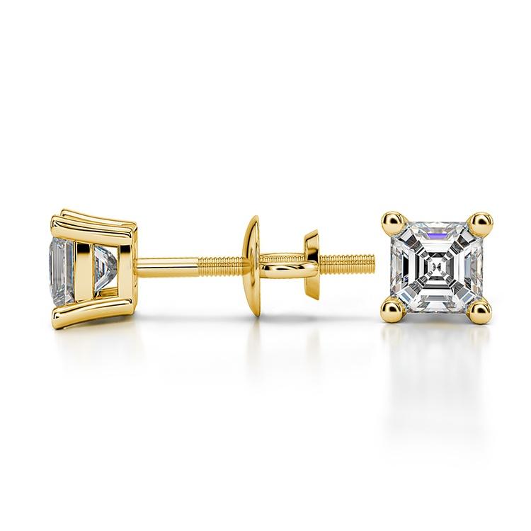 Asscher Diamond Stud Earrings in Yellow Gold (1/2 ctw) | 03