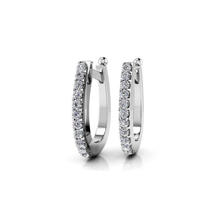 Huggie Diamond Earrings in White Gold (1/2 ctw) | 01