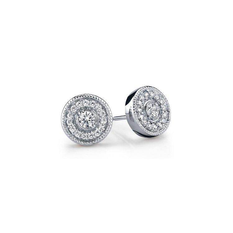 Milgrain Halo Diamond Earrings in White Gold | 01
