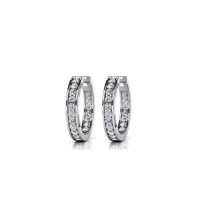 Diamond Channel Hoop Earrings in White Gold (3/4 ctw) | 01