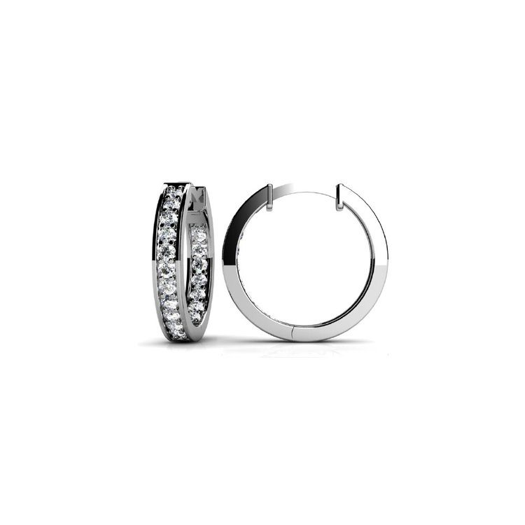 Diamond Channel Hoop Earrings in White Gold (3/4 ctw) | 02