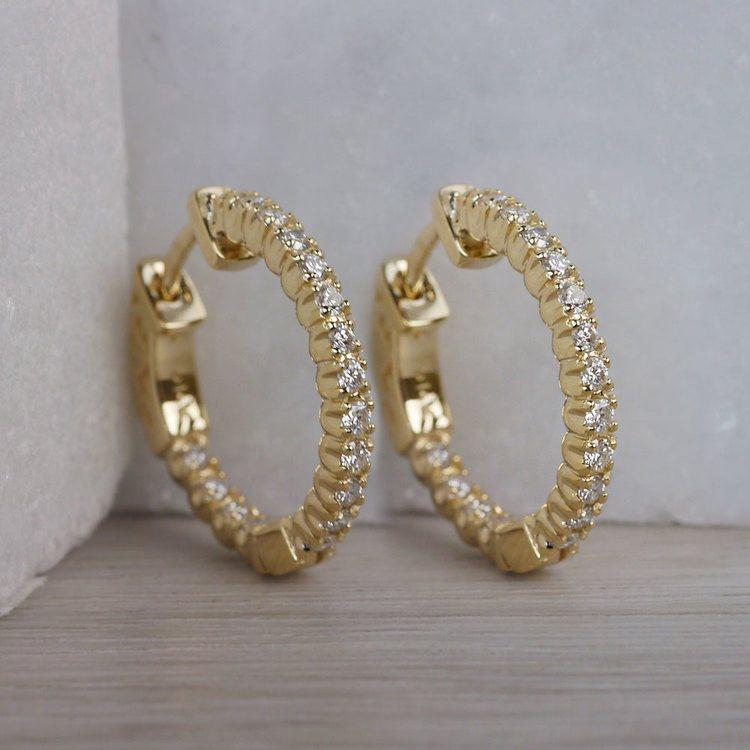 Diamond Hoop Earrings in Yellow Gold (3/4 ctw) | 03