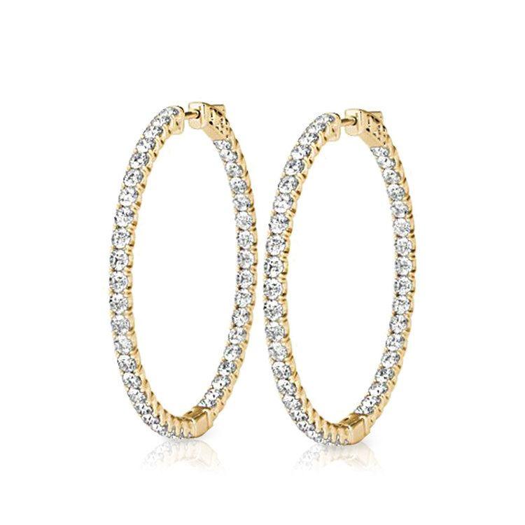 Diamond Hoop Earrings In Yellow Gold 3 4 Ctw
