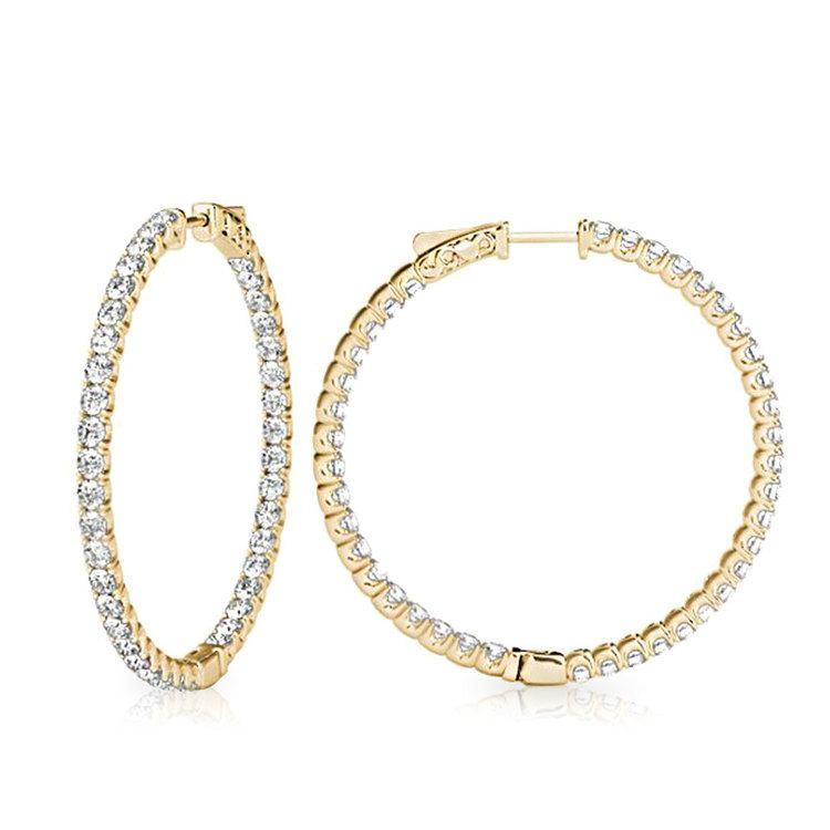 Diamond Hoop Earrings in Yellow Gold (3/4 ctw) | 02