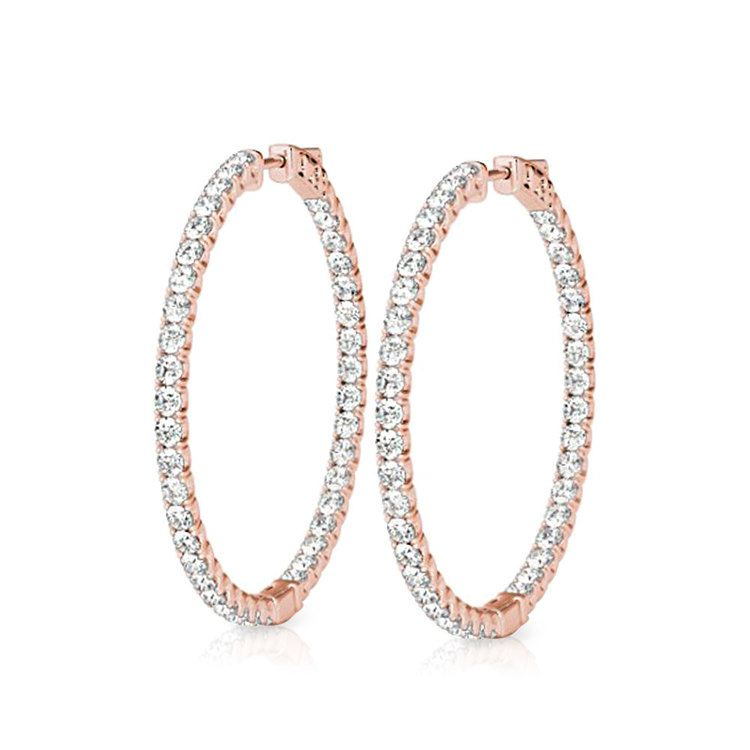 14K Rose 3 CTW Diamond Inside//Outside Hoop Earrings
