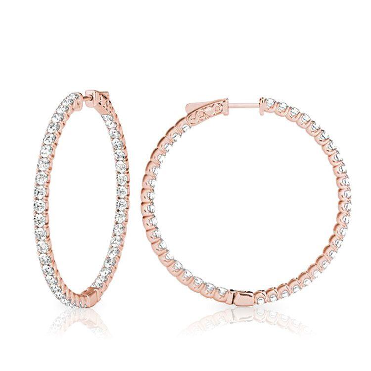Diamond Hoop Earrings in Rose Gold (3/4 ctw) | 02
