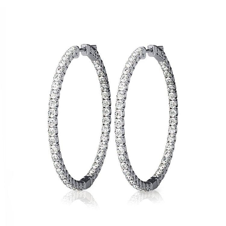 Diamond Hoop Earrings in White Gold (3/4 ctw)   01