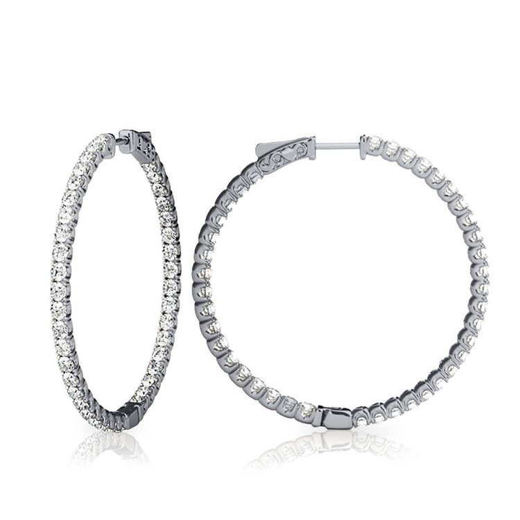 Diamond Hoop Earrings in White Gold (3/4 ctw)   02
