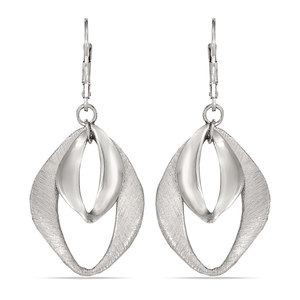 Abstract Diamond Textured Dangle Earrings in Silver