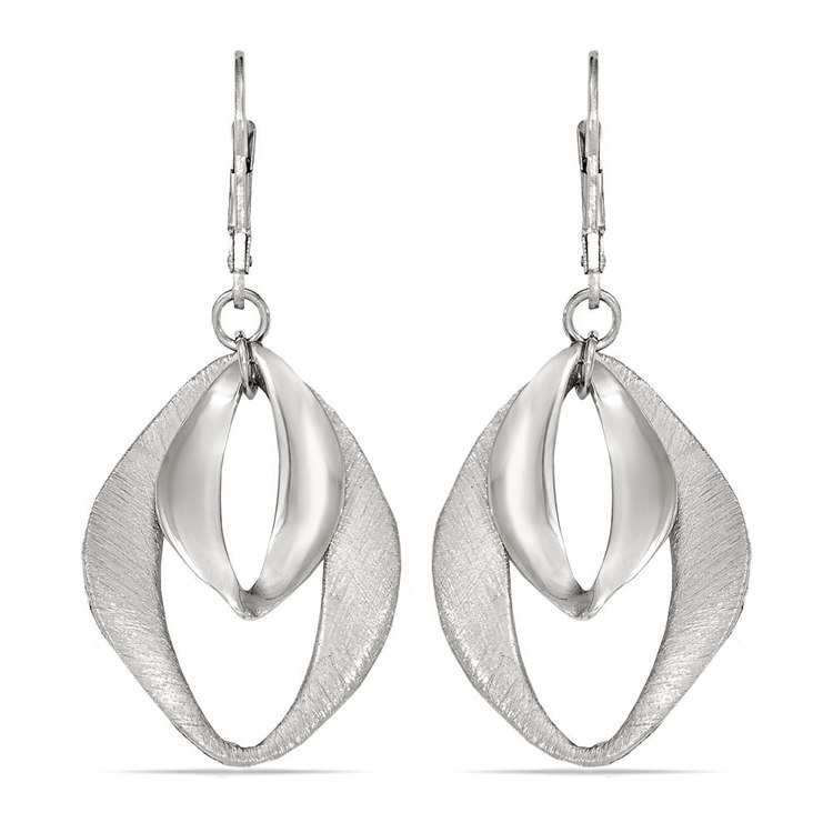 Abstract Diamond Textured Dangle Earrings in Silver | 01