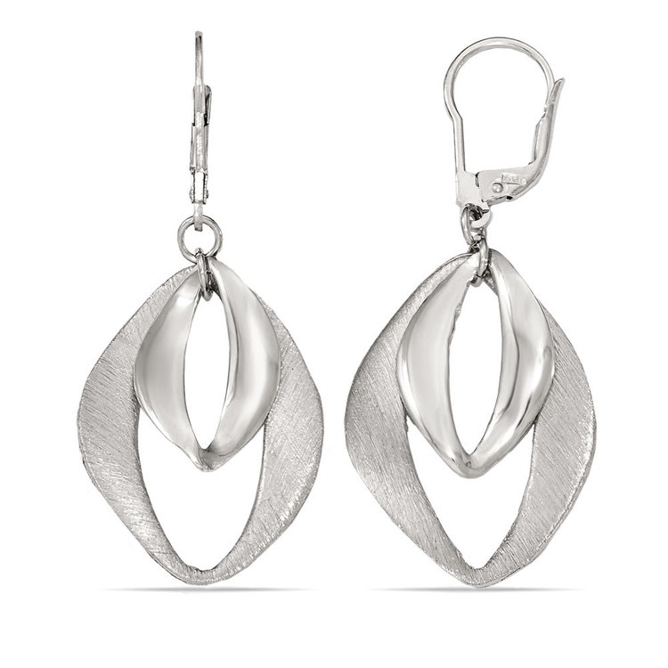Abstract Diamond Textured Dangle Earrings in Silver | 02