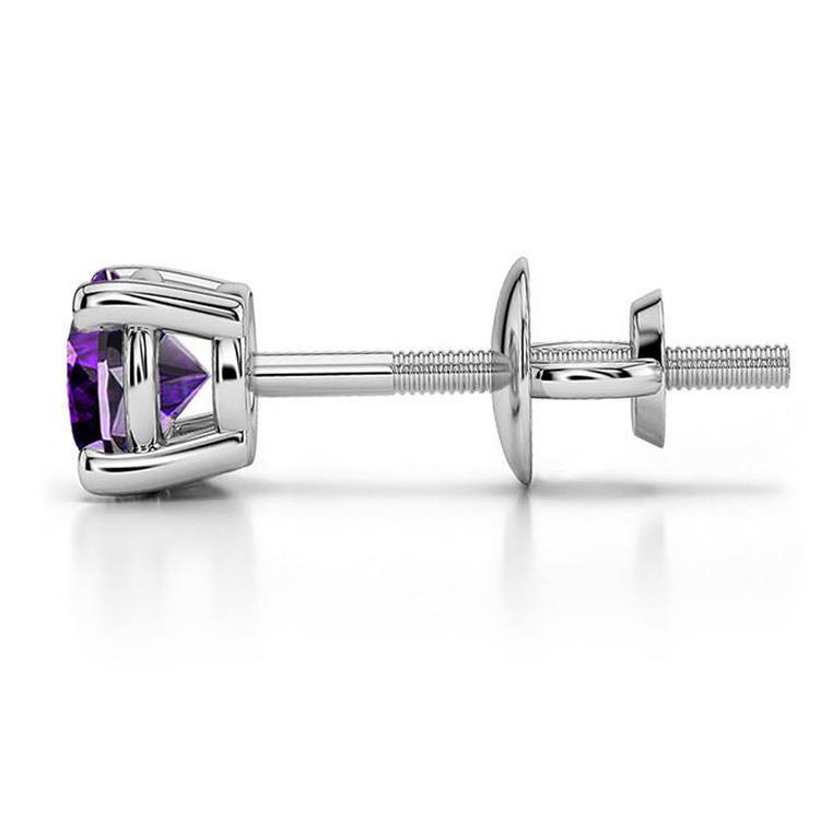 Amethyst Round Gemstone Single Stud Earring in White Gold (5.9 mm) | 03