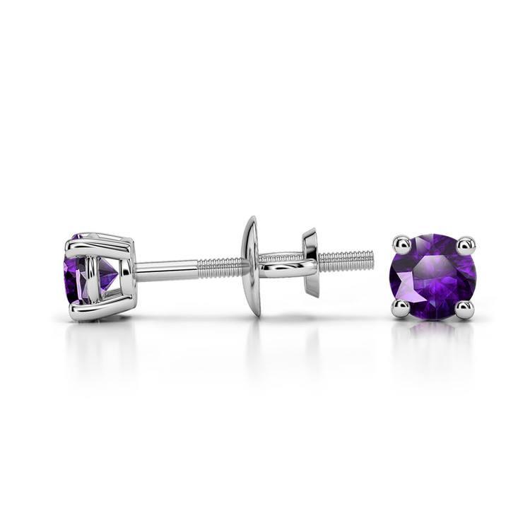 Amethyst Round Gemstone Stud Earrings in Platinum (3.2 mm) | 03