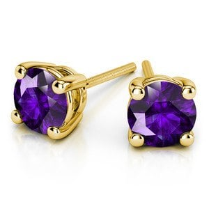Amethyst Round Gemstone Stud Earrings in Yellow Gold (3.2 mm)