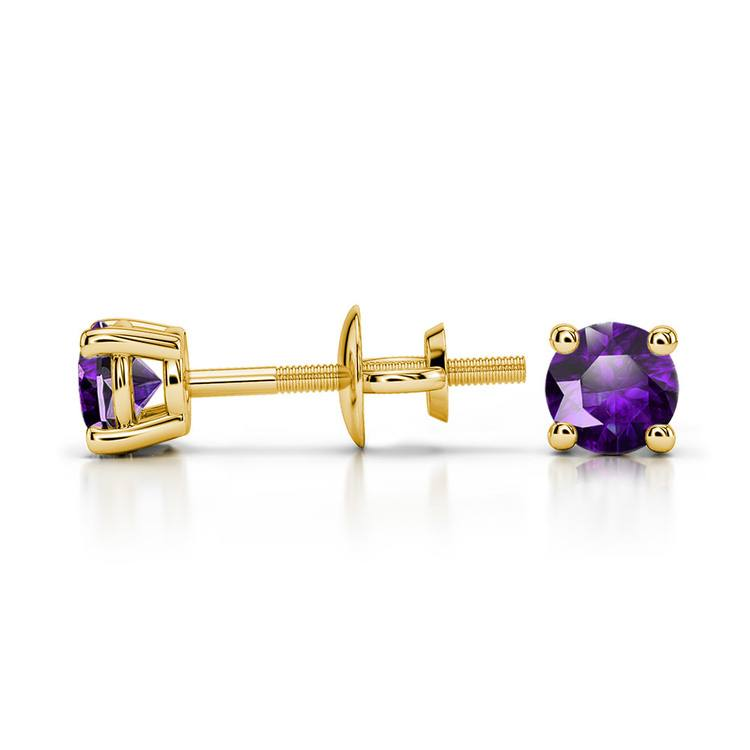 Amethyst Round Gemstone Stud Earrings in Yellow Gold (3.4 mm) | 03