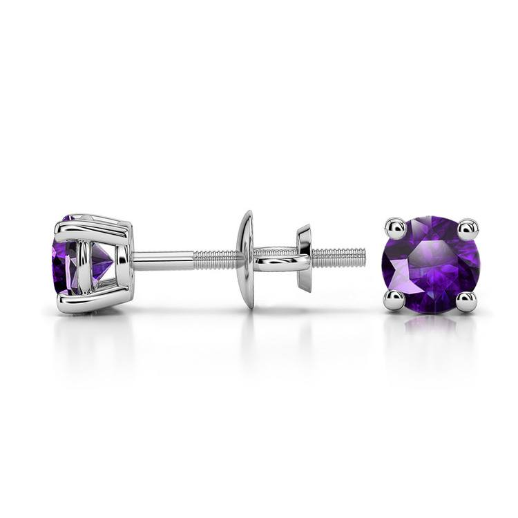 Amethyst Round Gemstone Stud Earrings in Platinum (4.1 mm) | 03