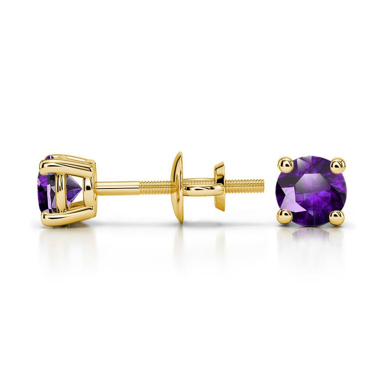 Amethyst Round Gemstone Stud Earrings in Yellow Gold (4.1 mm) | 03