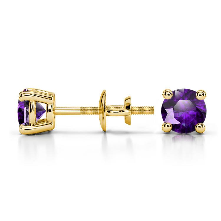 Amethyst Round Gemstone Stud Earrings in Yellow Gold (4.5 mm) | 03