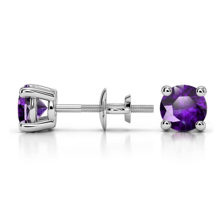 Amethyst Round Gemstone Stud Earrings in Platinum (5.1 mm) | 03
