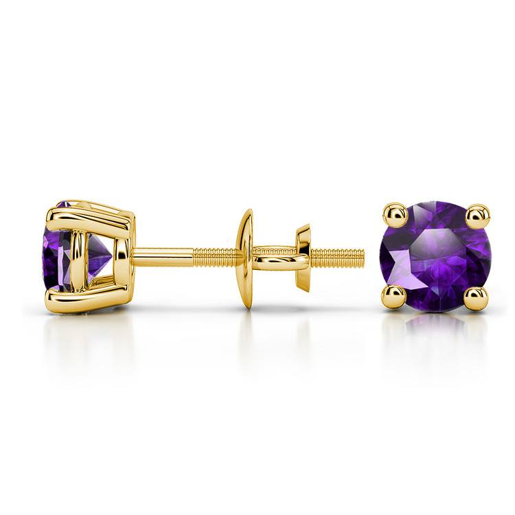 Amethyst Round Gemstone Stud Earrings in Yellow Gold (5.1 mm) | 03