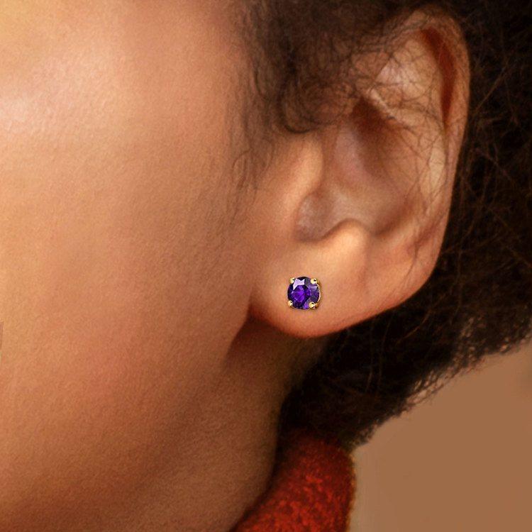 Amethyst Round Gemstone Stud Earrings in Yellow Gold (5.1 mm) | 04