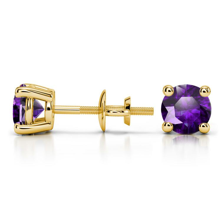 Amethyst Round Gemstone Stud Earrings in Yellow Gold (5.9 mm) | 03