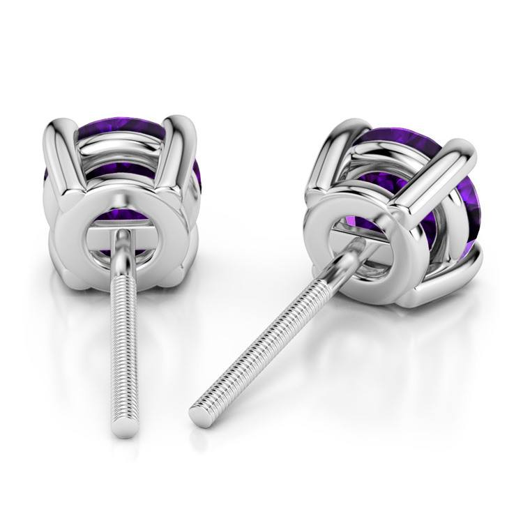 Amethyst Round Gemstone Stud Earrings in Platinum (6.4 mm) | 02