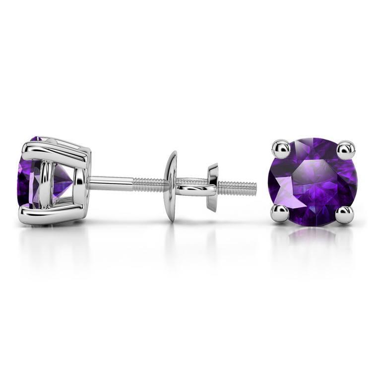 Amethyst Round Gemstone Stud Earrings in Platinum (6.4 mm) | 03