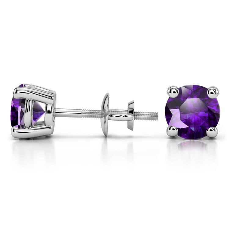 Amethyst Round Gemstone Stud Earrings in White Gold (6.4 mm) | 03