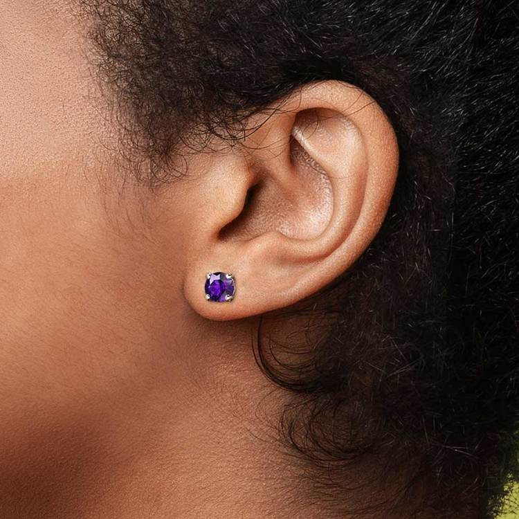Amethyst Round Gemstone Stud Earrings in White Gold (6.4 mm) | 04