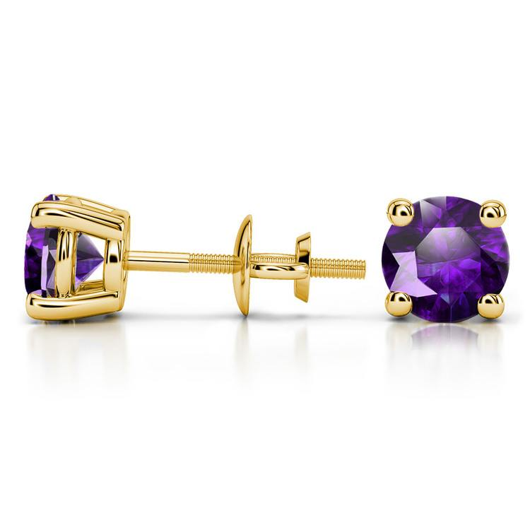 Amethyst Round Gemstone Stud Earrings in Yellow Gold (6.4 mm) | 03