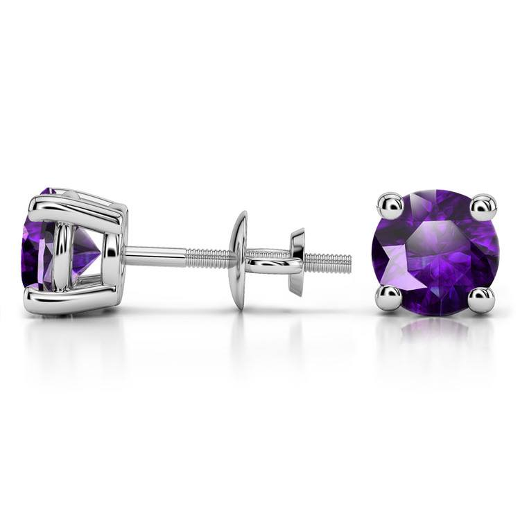 Amethyst Round Gemstone Stud Earrings in Platinum (7.5 mm) | 03