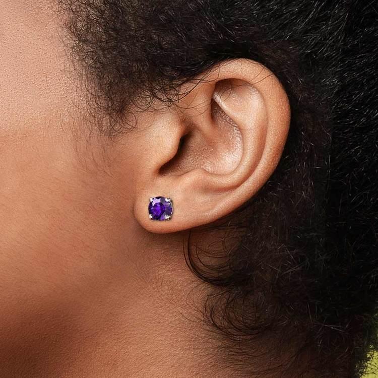Amethyst Round Gemstone Stud Earrings in White Gold (7.5 mm)   04