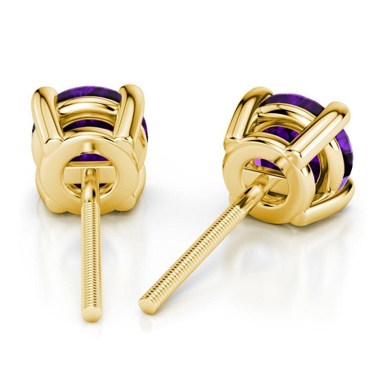 Amethyst Round Gemstone Stud Earrings in Yellow Gold (7.5 mm) | 02